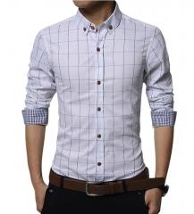 High Quality Fashion Brand Men Clothes Slim Fit Men Long Sleeve Shirt  Plaid Cotton Casual Men Shirt White m