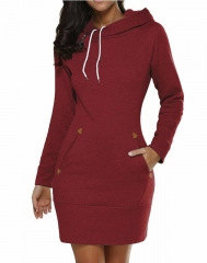 Warm Women Casual Straight Solid Dress Ladies Long Sleeve Hoodie Pockets Dresses SportsWear Clothing Wine Red xl