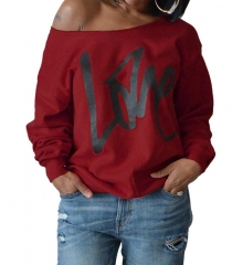 Fashion Women Hoodies Sweatshirt  LOVE  Printed Long Sleeve Sexy Off The Shoulder Pullovers Hoodies Wine Red m