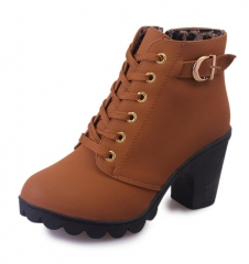 New Autumn Winter Women Boots High Quality Solid Lace-up  Ladies shoes PU Leather Fashion shoes Yellow 35