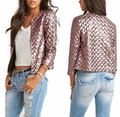 Brand New Vogue Women Lozenge Sequins Jackets Stylish Solid Gold/Brown Coat Short Slim Outwear brown s