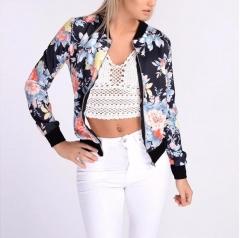 M&J Women Floral Print Jacket Zipper Bomber Collar Slim Coat Casual Outwear Autumn Spring Jacket Blue s