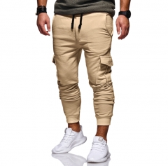 M&J Men Pants Casual Joggers Fashion Pants Male Trousers Joggers Solid  Sweatpants khaki m