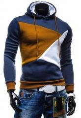 Hoodies Men Sudaderas Hombre Hip Hop Mens Hit Color Stitching Hooded Men Hoodies Sweatshirt Fit Men navy m