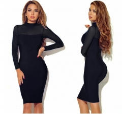 Sexy Bandage Dress Long Sleeve Mesh Patchwork Pencil Bodycon Dress Party Dresses s black