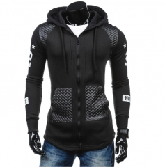 M&J  New Fashion Long Sleeve Hoodies Men Zipper Sweatshirt Hoodies Mens Hooded Coat Jacket Jumper black m