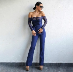 Fashion Jumpsuits Women High Quality Lace Patchwork Embroidery Sexy Party Jumpsuit Ladies Bodysuits blue s