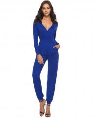 M&J High Quality Elegant  Office V Neck Long Sleeve Women Jumpsuit OL Style Work Rompers blue s
