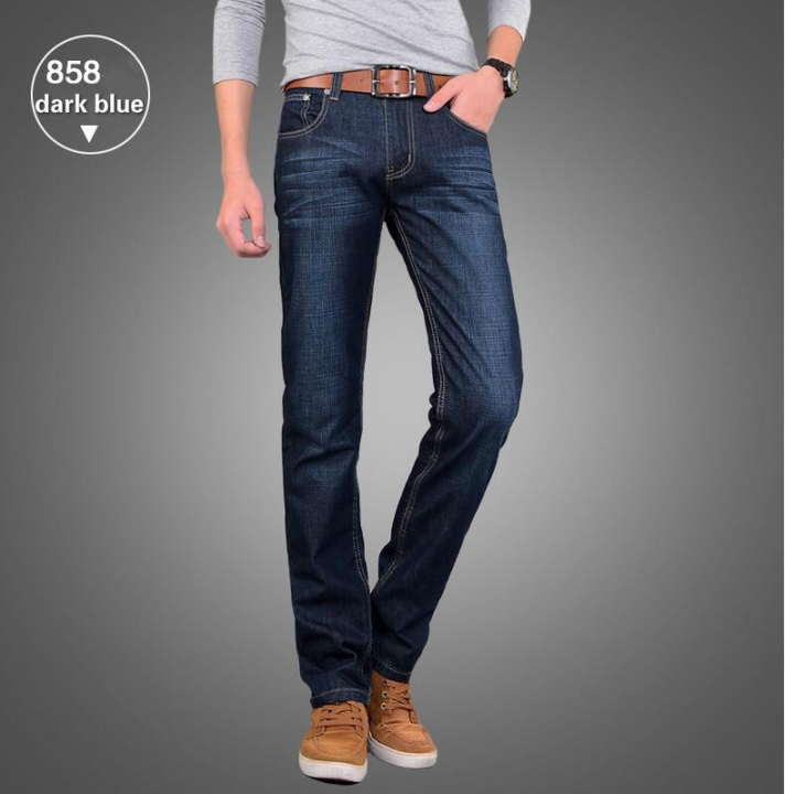 Summer Men's Fashion Breathable Soft Cotton Straight  Jeans Men Slacks Simple Men Pants Trousers 858 dark blue 28