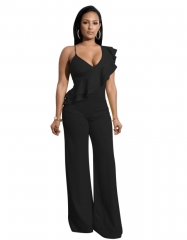 Sexy Ruffles Rompers Womens Jumpsuit Fashion Deep V Neck Sleeveless Assymetrical Strap Jumpsuit black s