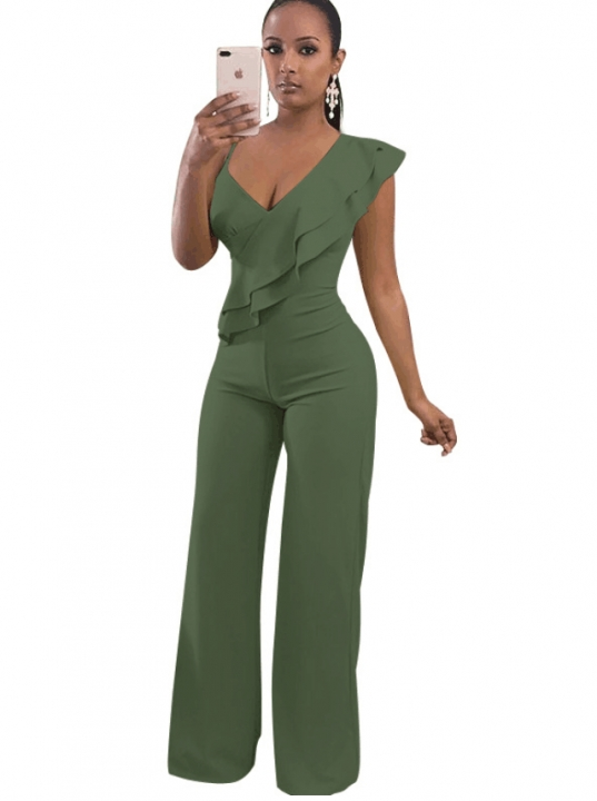 bce562ab2a0b Sexy Ruffles Rompers Womens Jumpsuit Fashion Deep V Neck Sleeveless  Assymetrical Strap Jumpsuit army green s