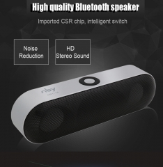 New NBY-18 Mini Bluetooth Speaker  Wireless Speaker Sound System 3D Stereo Music Surround Subwoofer silver 10W NBY-18