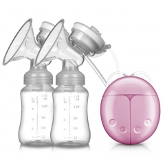 Double Side Electric Breast Pump Baby Milk Nipple Suction Breast Feeding With Milk Bottle Suckers Pink one size