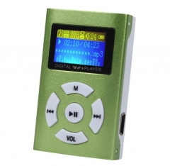 Fashion USB Mini MP3 Player LCD Screen Support 32GB Micro SD TF Card Slick Stylish Design Green
