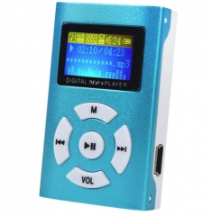 Fashion USB Mini MP3 Player LCD Screen Support 32GB Micro SD TF Card Slick Stylish Design Blue