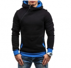 M&J Men Hoodie Sweatshirt  Solid Color Fleece Tracksuit Hombre Hip Hop Male Hooded Sportswear black blue xl