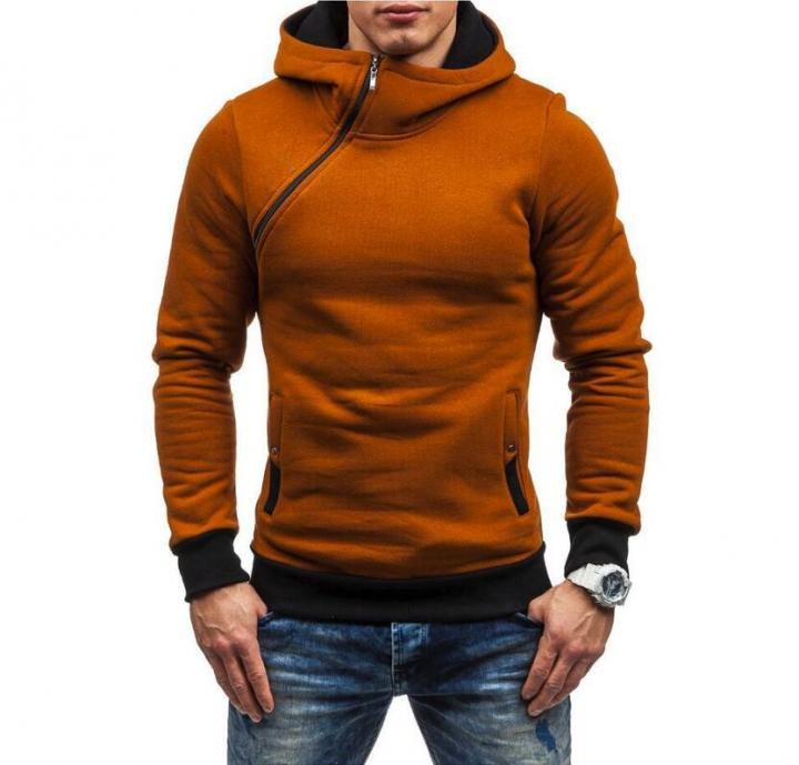 M&J Men Hoodie Sweatshirt  Solid Color Fleece Tracksuit Hombre Hip Hop Male Hooded Sportswear camel xl
