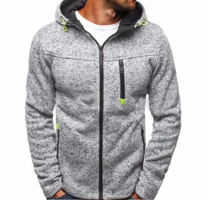 Hoodie Male Cardigan Hoodies Men Zipper Sweatshirt Hoodies Mens Hooded Plus size Coat Jacket light gray m