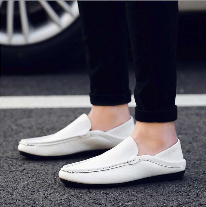 Soft Moccasins Men Loafers Genuine Leather Shoes Men Flats Gommino Driving Shoes,01 Gray,12