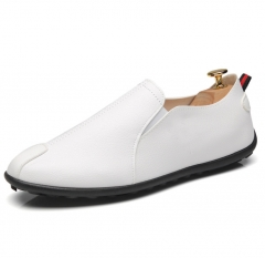 Men's Driving Shoes Leather Loafers Shoes Fashion Handmade Soft Breathable Slipe On Shoes white 39