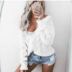 Sexy Deep V-Neck Twist Knitted Sweaters Women Long Sleeve Off Shoulder Sweater Outwear Sweater white s