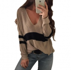 M&J Fashion Women V Neck Loose Long Sleeve Knitted Sweater Pullover Tops Plus Size khaki s