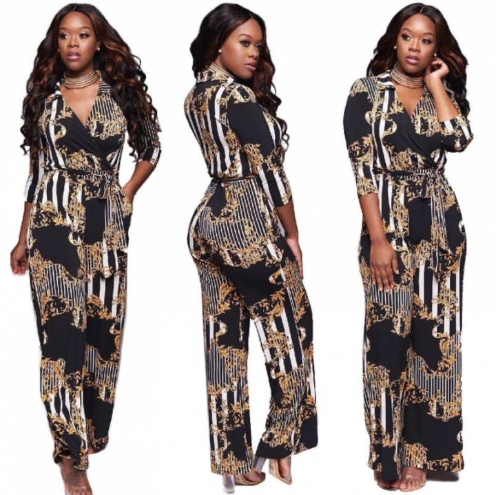 491415fabf8 Stylish Jumpsuit Romper Women Long Sleeve High Elastic Overalls Wide Leg Jumpsuit  Long Pants c xl