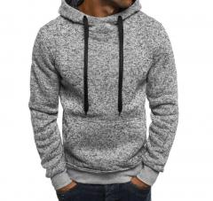 Hoodies Men Hip Hop Streetwear Male Solid Color Sweatshirt  Autumn Winter New Mens Hoodie Pullover light gray m
