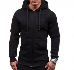 Plus Size Men's Hoodies Tracksuit Drawstring Pocket Sweatshirt Long Sleeve Zip Slim Coat Male Jacket black l