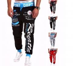 Trousers Hot Sale Baggy Mens Letter Printing Baggy Harem Cool Long Pants Joggers Wear Plus Size black&blue m