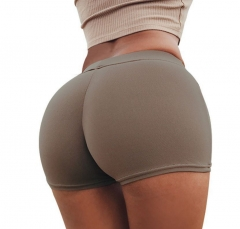 1pc Women Shorts Women in Yo-ga Shorts High Waisted Fabric Quick-drying Fitness Elastic Tight Shorts brown s