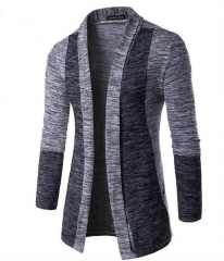 New Fashion Autumn Classic Cuff Hit Colors Men's Sweaters High Quality Cardigan Casual Coat nitwear light gray l