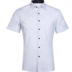 New Arrival Brand Men's Summer Business Shirt Short Sleeves Turn-down Collar Shirt Shirt Men Shirts white m