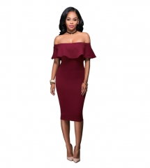 M&J Off Shoulder Midi Bodycon Dress Sexy Ruffles Strapless Women Celebrity Party Office Dresses s wine red