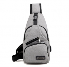 M&J Male Shoulder Bags USB Charging Crossbody Bags Men Chest Bag School Short Trip Messengers Bag grey 33* 16 * 8cm