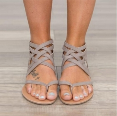 1 Pairs Women Sandals Fashion Sandals Summer Shoes Flat Sandals Rome Style Cross Tied Sandals grey 34