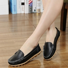 M&J 1 Pairs Women Soft Leather Causal Loafers Shoes Moccasins Flats Driving Shoes black 35