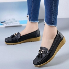 M&J 1 Pairs Plus Size British Style Soft Leather Loafers Shoes Moccasins Flats Women's Shoes black 35