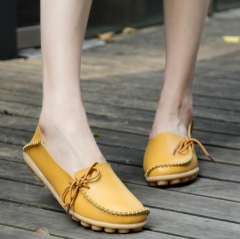 M&J 1 Pairs Women Plus Size Soft Leather Loafers Shoes Moccasins Ballerinas Flats Women's Shoes yellow 35