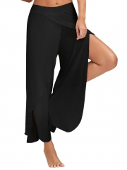 New Fashion Women Summer Casual Wide Leg Pants Solid Color Women Loose Stretch High Waist Trousers black m