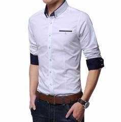 M&J New Cotton Shirts Men High Quality Long Sleeve Slim Fit Shirt Pure Color Business Casual Shirt white m