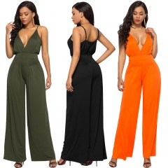 M&J V Neck Sleeveless Sexy Jumpsuit Long Wide Leg Party Office Fashion Rompers orange s