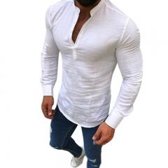 New Casual Shirts Long Sleeve Men Shirt Breathable Fashion Slim Fit Shirt Clothing white m