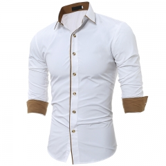 New Arrivals Men Shirts Slim Fit Male Shirt Solid Long Sleeve British Style  Men's Business Shirt white m