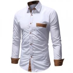 Men Shirt Male High Quality Long Sleeve Shirts Casual Slim Fit Dress Shirts white m