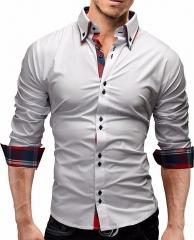 Men Shirt New Brand Business Men'S Slim Fit Dress Shirt Male Long Sleeves Casual Shirt white m
