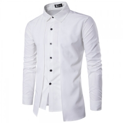 M&J Fashion UK Design Men's Shirts Long Sleeve Solid Color Casual Young Boys Tops Slim Shirts white m