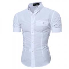 Men Shirt Male Short Sleeve Summer Shirts Casual Buckle  Slim Fit Men Dress Business Shirts white m