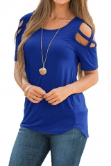 Women Summer Short Sleeve Strappy Shoulder T-Shirt Tops Women Short Sleeve Shirt blue m