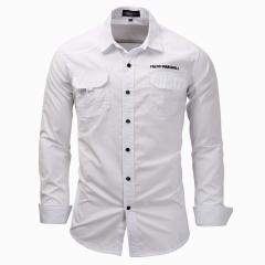M&J High Quality Cotton Military Shirt Men Long Sleeve Breathable Casual Shirt Man Solid Shirts white m